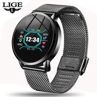 2019 LIGE Smart health watch Men women Heart rate monitor Blood pressure wristband Pedometer fitness watch Sports watch+box