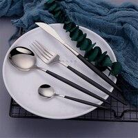 4pcs Silber Besteck Gabeln Messer Löffel Küche Besteck Messer Schwarz Utensilien Set Geschirr Geschirr Set Edelstahl