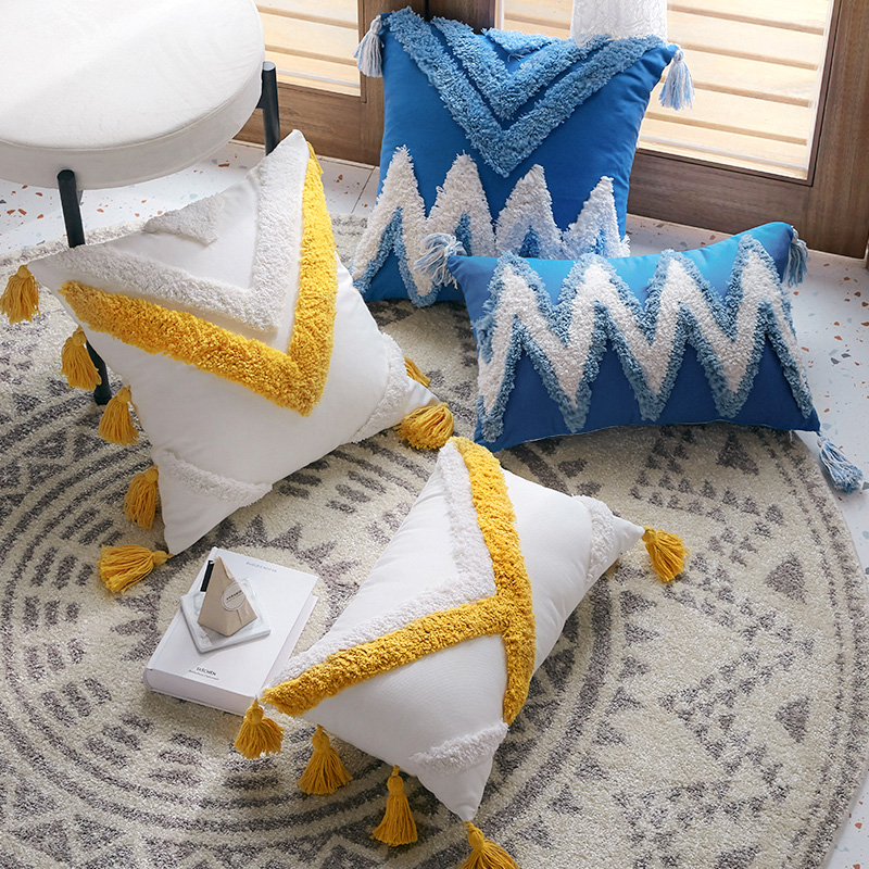Morocco Cushion Cover Decorative <font><b>Pillow</b></font> <font><b>Case</b></font> Geometric Pillowcase for Chair Sofa Bohemia Throw <font><b>Pillow</b></font> Covers with Tassels <font><b>30x50</b></font> image