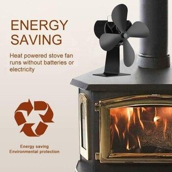 4 Blades Heat Powered Wood Stove Fan Wood Log Burner Fireplace Eco Friendly Fan