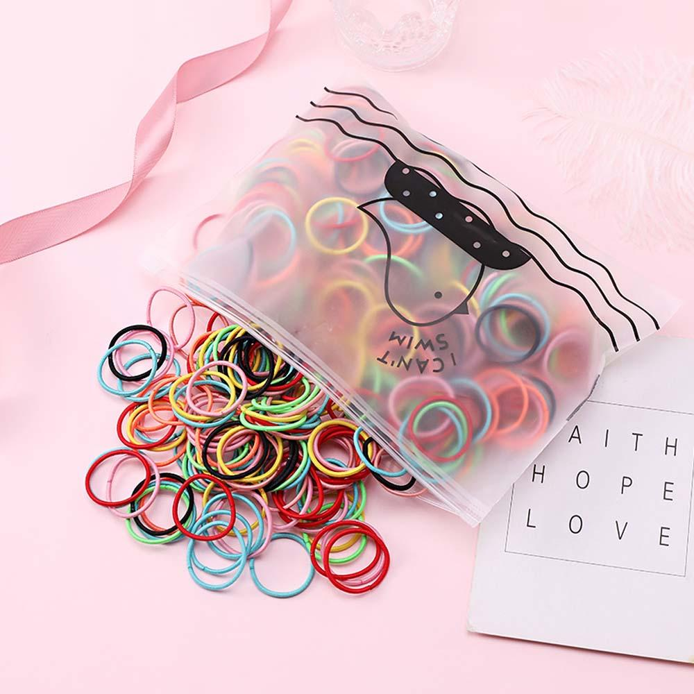 100pcs/Bag Candy Color Girls Hair Rope Elastic Hair Bands Gum Fashion Colorful Ponytail Holder Scrunchie Hair Accessories