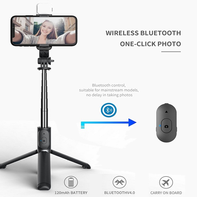FANGTUOSI Wireless bluetooth selfie stick foldable mini tripod with fill light shutter remote control for IOS Android 3