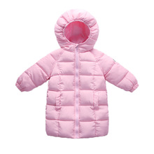 цена на Fashion 2-10 Years Children Down Coats Hooded Boys Girls Winter Clothing Kids Thickened Long Outerwear