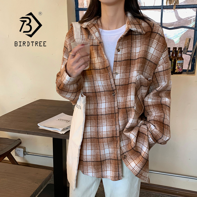 New Arrival Women Batwing Sleeve Oversize Harajuku Plaid Shirt Turn-down Collar Button Up Brushed Blouse Feminina Blusa T9O922F