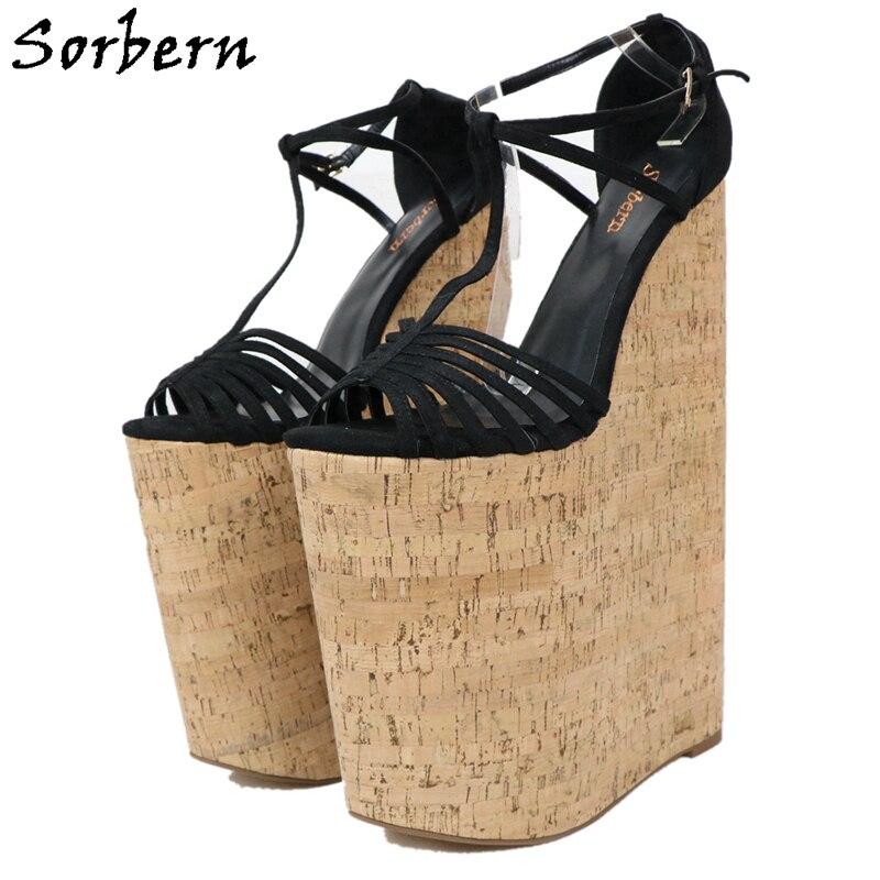 Sorbern/женские босоножки на танкетке 12 дюймов; обувь на толстой платформе с открытым носком и Т образным ремешком; женская обувь для ночного клуба