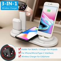 Qi Wireless Charging Charger Stand with 3.0 Plug for iPhone X XS Max XR for Airpod for Apple Watch Docking Dock Station|Mobile Phone Chargers| |  -