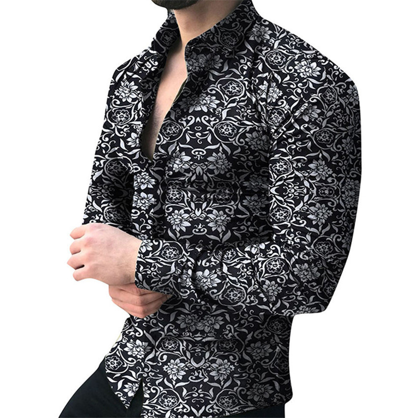 Men Brand Long Sleeve Shirt Floral Male Blouse Casual Shirts Summer Autumn Shirts Men Top Clothes Camisa Masculina Sale