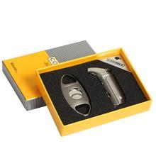 COHIBA Cigar Lighter Cutter Set Cigarette Sharp Guillotine Double Blades Gas Accessories