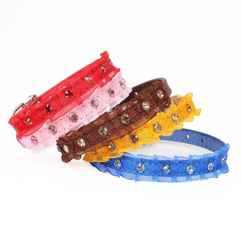 Amin Lattice Pu Material Lace Pet Collar Dog Neck Ring
