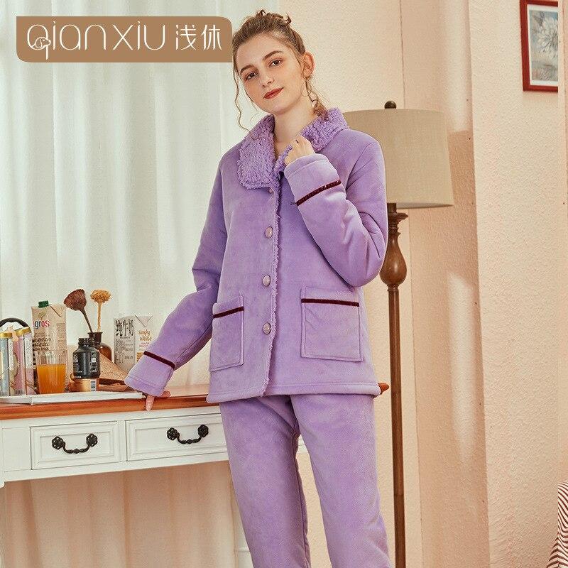 Lindo patrón de cereza pijamas de franela de invierno conjunto para mujeres de tela de felpa Cárdigan para dormir pijamas de mujer traje de ropa de casa - 2