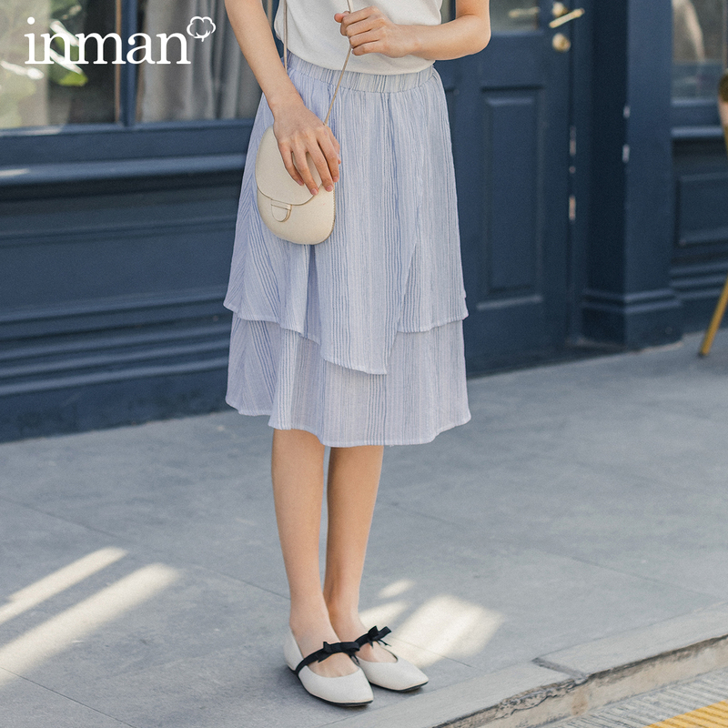 INMAN 2020 Summer New Arrival Mid Length Elastic Waist Stripped Fit Shape Sweet Style Girl Skirt