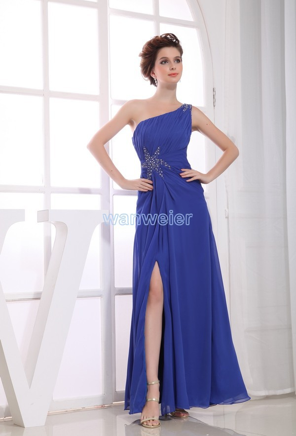 Free Shipping One Shoulder Prom 2016 Chiffon Brides Maid Dress Vestidos Formales Mexi Dresses Long Sapphire Blue Evening Dress