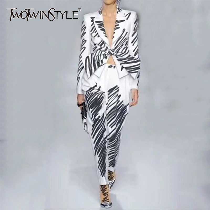 TWOTWINSTYLE Striped Elegant Women's Suit Lapel Collar Long Sleeve Bow Blazer High Waist Pants Two Piece Set Female 2019 Tide