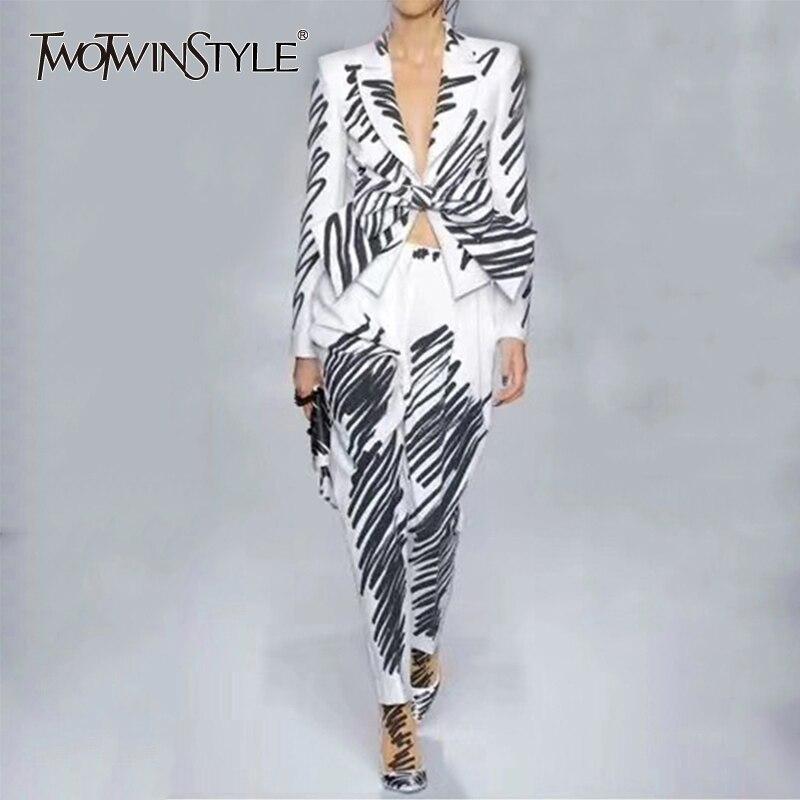 TWOTWINSTYLE Striped Elegant Women's Suit Lapel Collar Long Sleeve Bow Blazer High Waist Pants Two Piece Set Female 2020 Tide