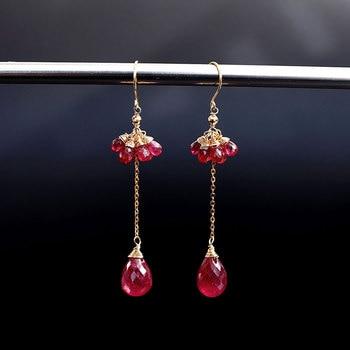 DAIMI Ruby Long Earrings Yellow 18K Gold Genuine Gemstones Fashion Valentine's Day Gift Earrings for Girlfriend