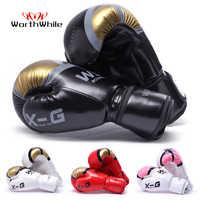 Merece la pena Kick Boxing guantes hombres mujeres PU Karate guantes De Muay Thai De Boxeo Lucha Libre MMA Sanda entrenamiento adultos niños equipo