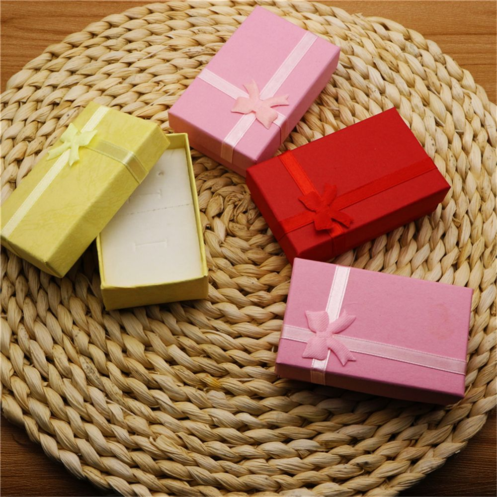 4 Colors Jewelry Gift Boxes Earring Ring Jewelry  Box Square Display Supplies Holiday Gift Packaging Cases