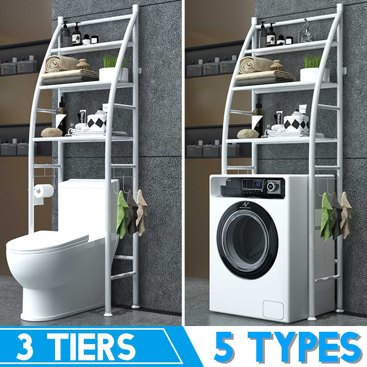 Thicken Over The Rack Metal Toilet Cabinet Shelving Kitchen Washing Machine Rack Bathroom Space Saver Shelf Organizer Holder New