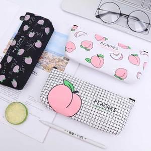 Kawaii Pink Fruit Peach Canvas Pencil Case Gift Estuches School Pencil Box Pencilcase Pencil Bag School Supplies Stationery