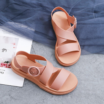 SWONCO PVC Sandals Shoes Women Summer Casaul Shoes 2020 New Plastic Rome Platform Sandals For Women White Shoes Jelly Sandals