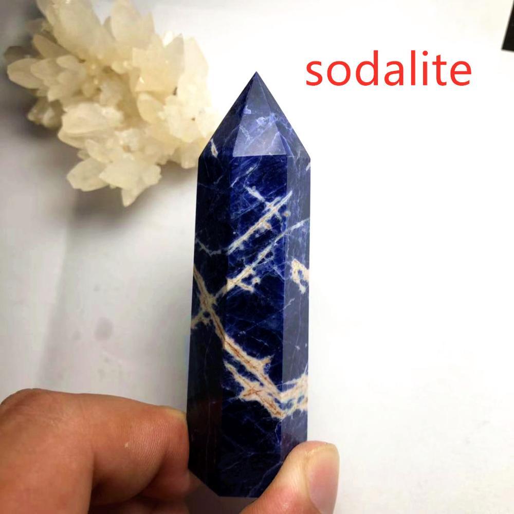 24 камень точка набор башня Wicca Исцеление Кристалл шестиугольник природные минералы волшебная палочка домашний декор аметист розовый кварц - Цвет: Sodalite