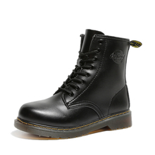 At all seasons Fashion Lover Martin boots Winter warm Ankle Boots Pu Leather men Women Work Shoes Round Toe Lace-Up Single
