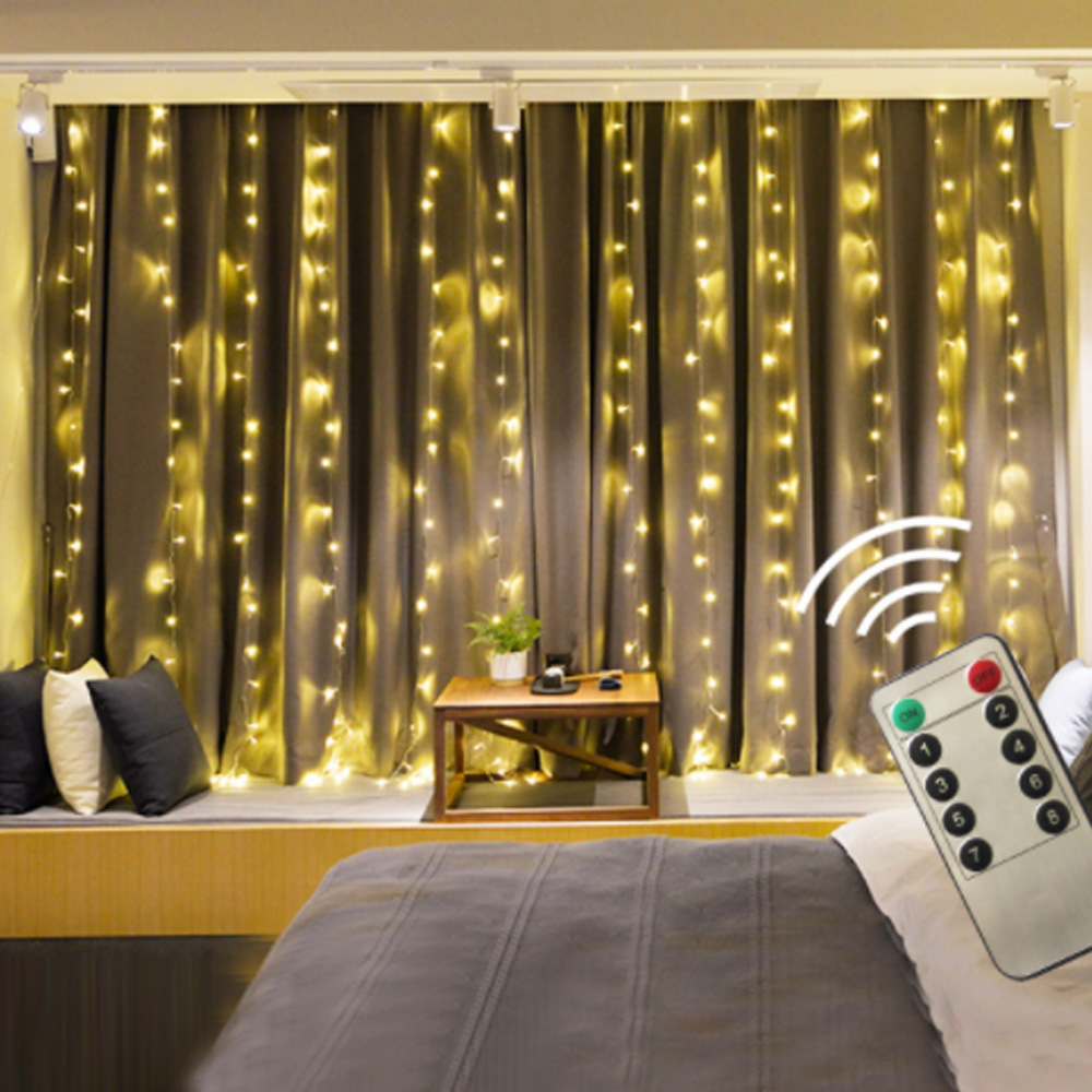 LED Curtain Light Remote 3x3M 300 Leds Icicle String Lights 8 Modes For Wedding Festival Party Ceremony Christmas Decoration