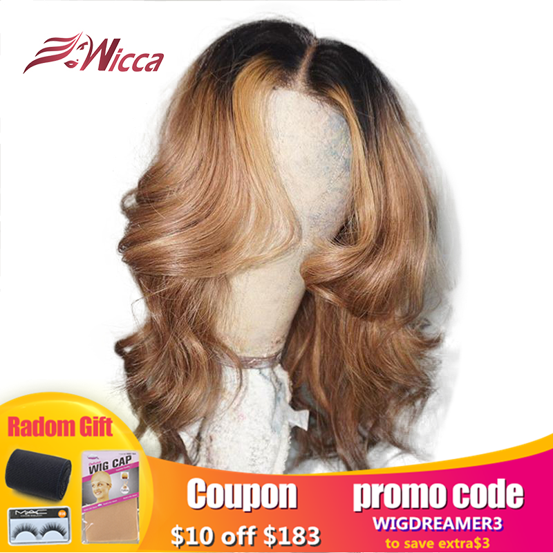 Honey Blonde Colored Ombre Invisible Highlight 13X6 Lace Frontal Human Hair Wigs PrePlucked Baby Hair Wavy Brazilian Remy