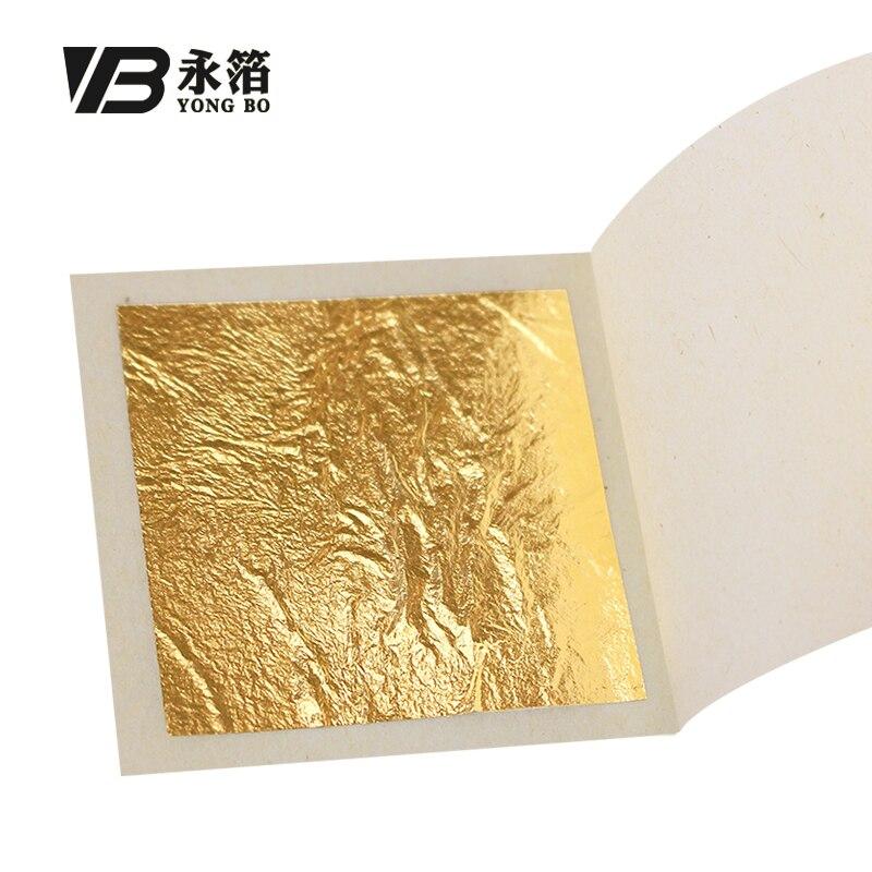 Edible Gold Leaf Sheets Real Gold Foil 100pcs 4.33x4.33cm For Edible Cake Decoration Facial Mask Art Craft 24K Gold Leaf Gilding
