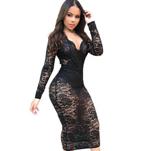 New Sexy White Lace Dress Women Ladies Fashion Clothes Club Vintage Sheath Solid Long Sleeve V-Neck 2019