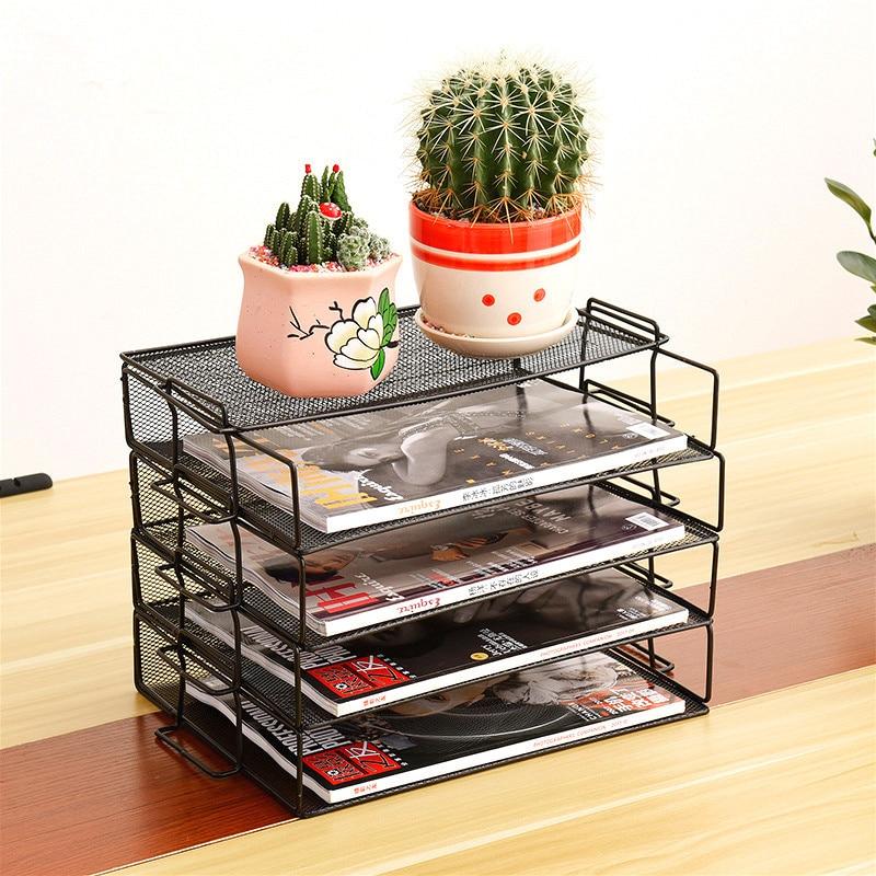 Iron Mesh A4 Paper Organizer Document File Storage Basket Holder Desktop Office Letter Book Magazine Newspaper Storage Rack Tray