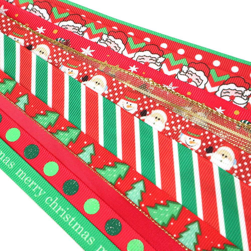 Accesorios David 1y/roll 10 roll/set grogrén Ribbon Merry Navidad Ribbon Set DIY arco materiales fiesta decoración regalo, 1Yc8507