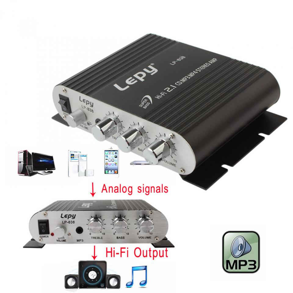 Lepy LP 838 Power Car Amplifier Hi Fi 2.1 MP3 Radio Audio Stereo Bass Speaker Booster Player for Motorbike Home No Power Plug