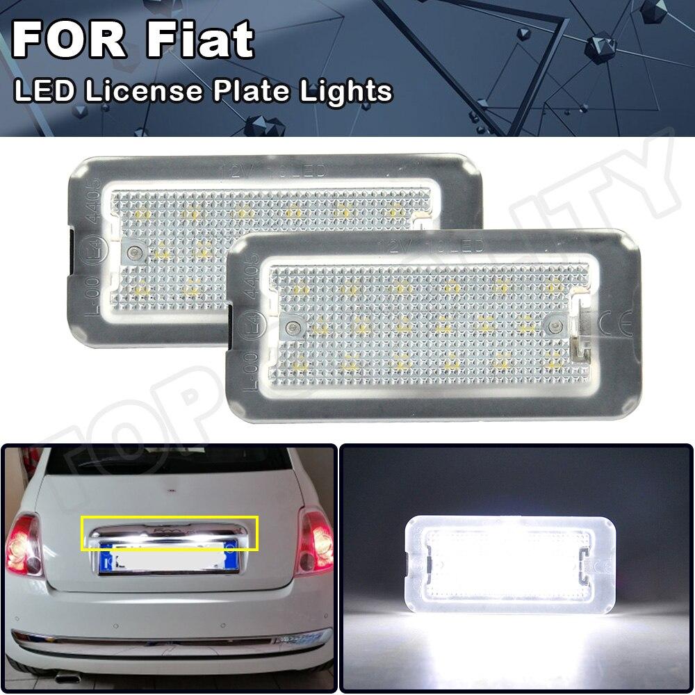 2x LED plaka numarası aydınlatma ışıkları Fiat 500 için/Abarth 500 2007 2008 2009 2010 2011 2012 2013 2014 2015 2016 2017 2018 2019 2020