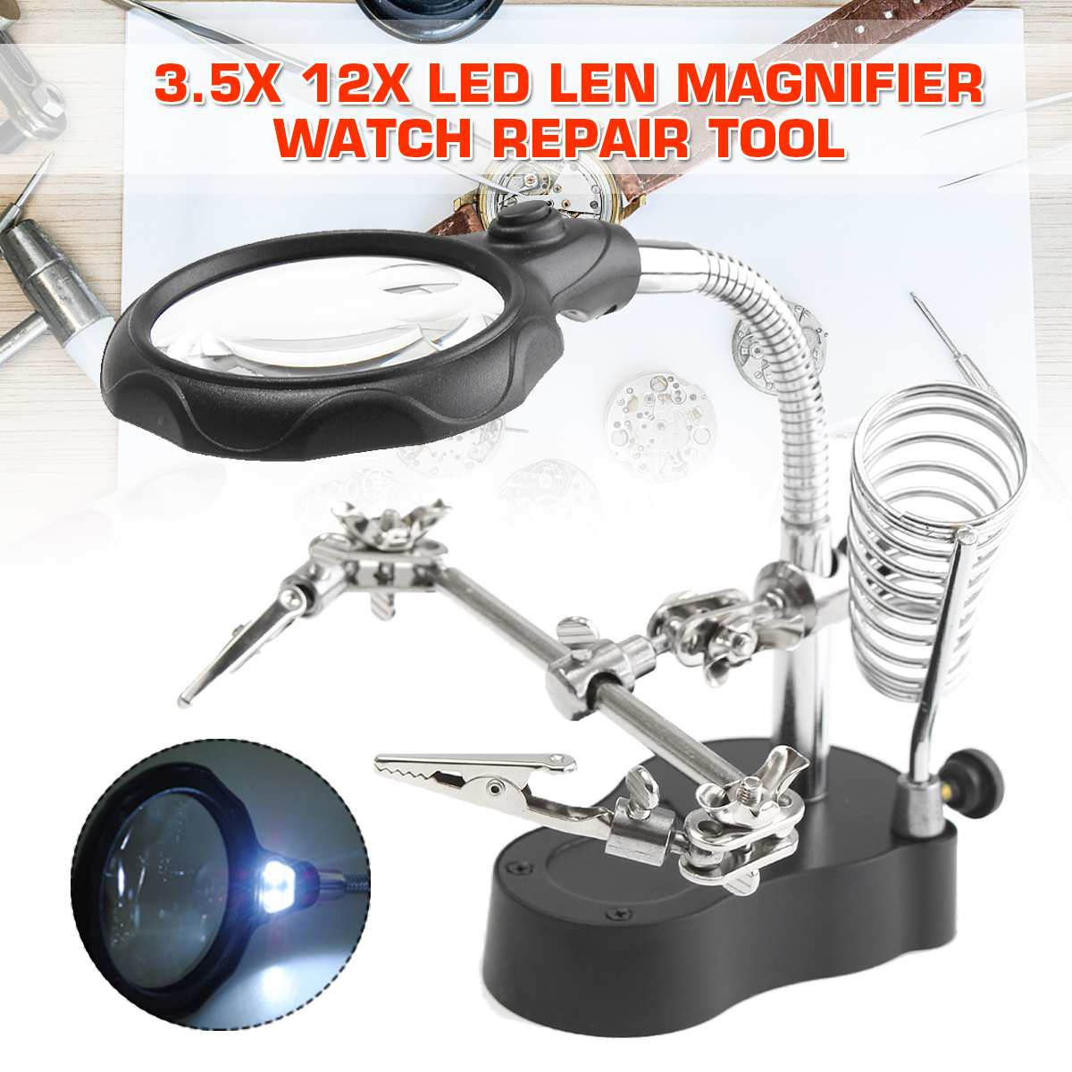 Welding Magnifying Glass LED Light 3.5X 12X Lens Clip Loupe Desktop Magnifier Helping Hand Third Hand Soldering Tools