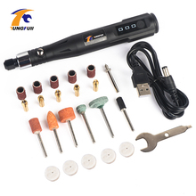 دريمل أداة صغيرة قلم النقش الكهربائي أدوات حفر مع تلميع الملحقات 15000RPM البولندية الرملي أداة مجموعة أدوات