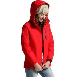 Image 4 - Winter USB Infrared Heating Jackets Men Women Outdoor Windproof Waterproof Windbreaker Fleece Casual Hooded Coat Mens Clothes