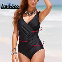 Plus Size 5XL One Piece Swimwear Women Solid Monokini Maillot De Bain Femme Bodysuit Female Bathing Suit Sandy Beach Swimsuit