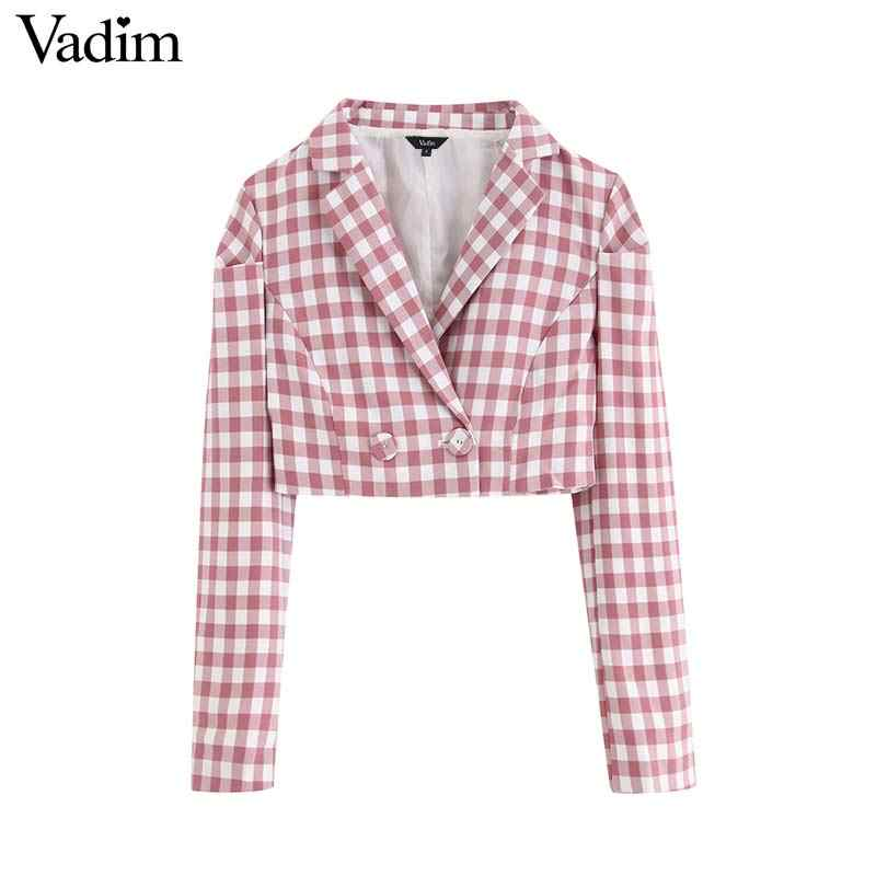 Vadim women office stylish plaid blazer long sleeve short style outerwear coats female casual elegant chic tops CA551