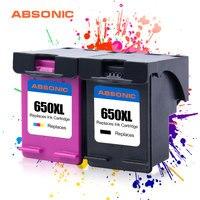 Absonic Re-650XL para HP650 Fabricados Cartuchos De Tinta HP 650 XL Deskjet 1014 1015 1515 2515 2545 2645 3515 4645 Printer 2PK