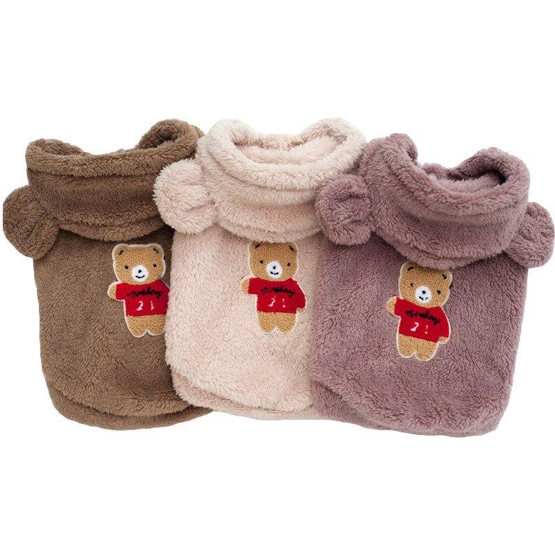 Buldog francuski ubrania dla zwierząt zimowy pies kostium miękka flanelowa szczeniak ubrania dla psów płaszcz mops niedźwiedź ucha pies ubrania produkty dla zwierzaka domowego