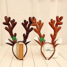 1 шт. рождественские украшения большие оленьи рожки на ободке рога Рождественские с рогами оленя повязка на голову рождественские аксессуары для волос для взрослых