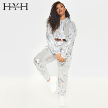 HYH Haoyihui Leisure Loose Large New Fashion  Striped Elastic Waist Trousers Silver Sequins Pocket Pants