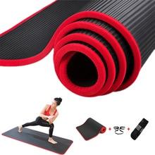 Jusenda 10MM Yoga Mat 183x61cm NBR Fitness Gym Sports Pilates Pads Carpet Edge covered Tear Resistant Yoga Matt with Bag&Strap