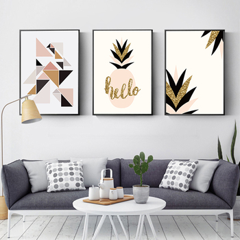 Modern Nordic Simple Geometry Golden Plant Leaves Hand Canvas Oil Paintings Living Room Lienzos Cuadros Decorativos image