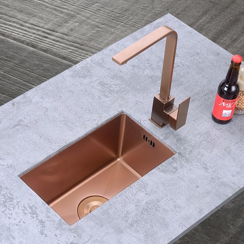 Rose Gold Mini Kitchen Sinks Soap Dispenser Balcony Small Apartment Bar Small Single Slot Kitchen Sink Undermount  Brushed Sink