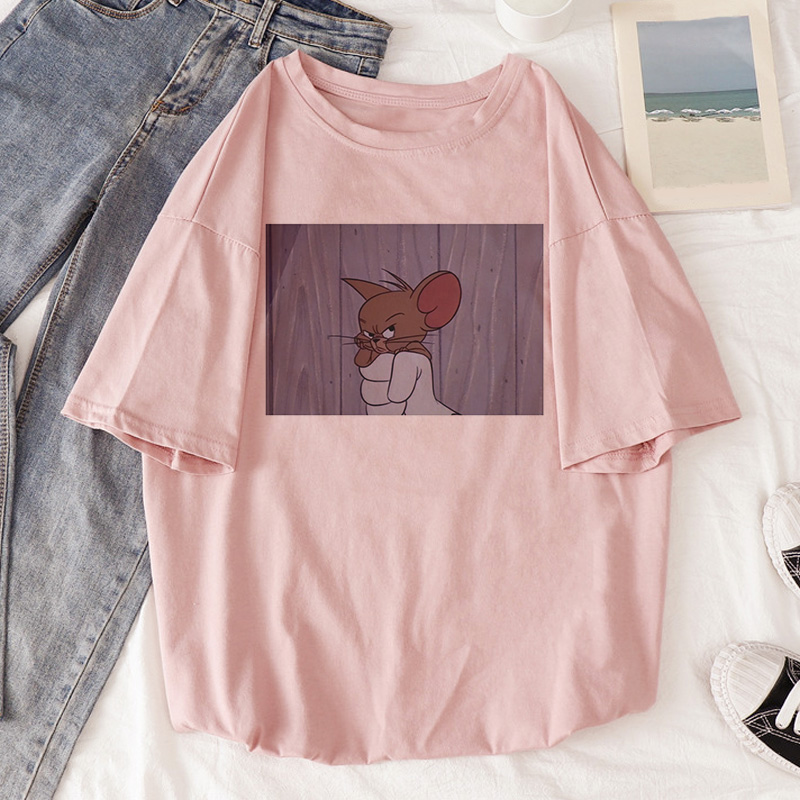 T Shirt Women Being Caught In The Throat Mouse Jerry Breathe Cat Tom Cartoon Kawaii Tshirt Summer Harajuku Casual Friend T-Shirt