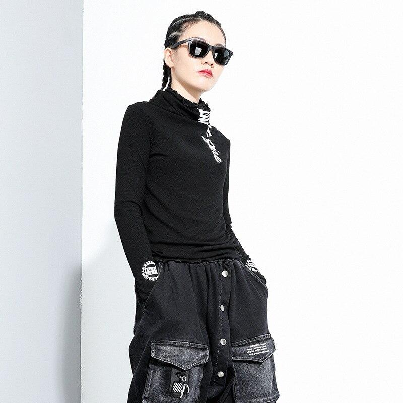 [EAM] Women Black Letter Printed Stitch Temperament T-shirt New Turtleneck Long Sleeve  Fashion Tide  Spring Autumn 2020 1Z835 2