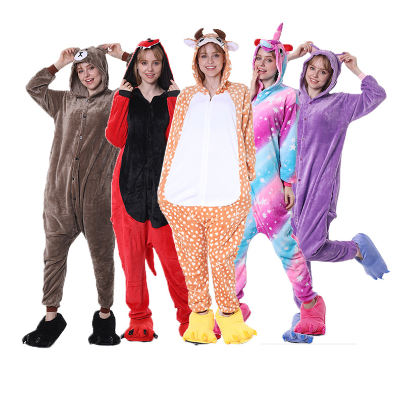 Flannel Koala Kigurumi Warm Animal Onsie Pyjamas Couple Pajamas Women Onesie Sleepwear Kigurumi Unicorn Stitch Cute Clothes