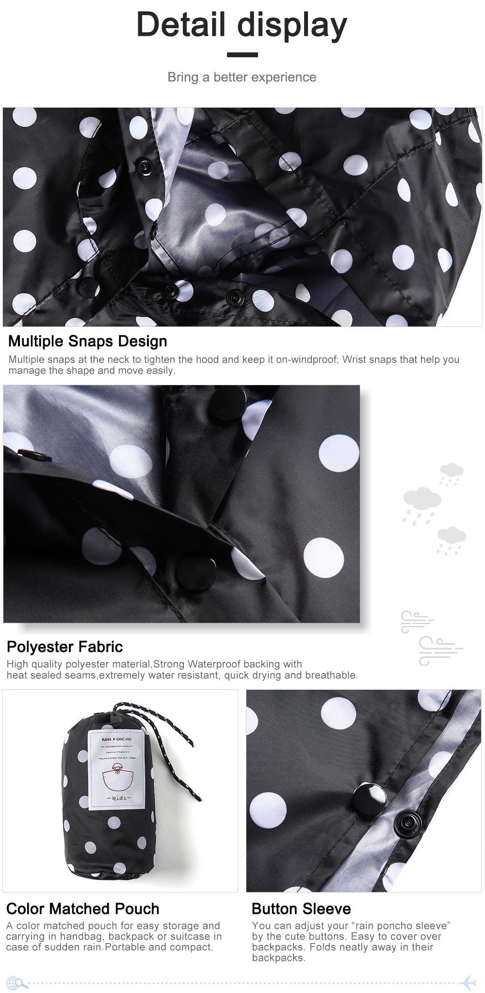 Capa de chuva poncho jaqueta polka dot